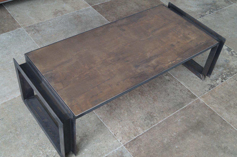 Couchtisch Feinsteinzeug U-Rahmen ''Rustic Steel''