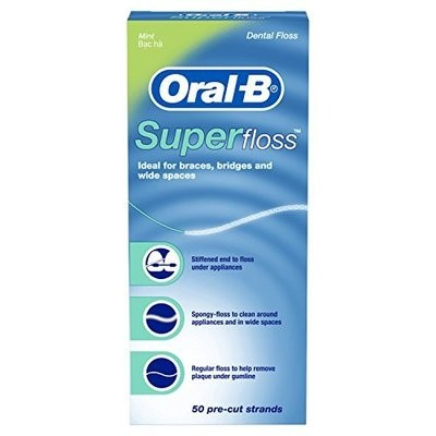Нить мятная межзубная Oral-B Super Floss, 50 шт. по 60 см.