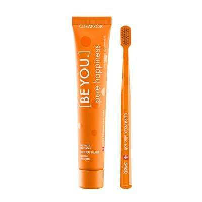 Набор Curaprox Be You Orange set (Зубная паста Чистое счастье ПЕРСИК и АБРИКОС + Зубная щетка CS5460)