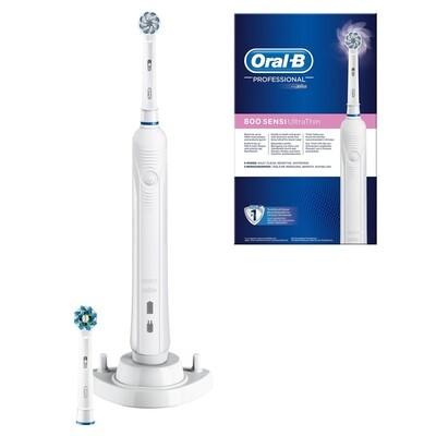 Электрическая зубная щетка Oral-B Pro 800 Sensi UltraThin D16.524.3U, Белая ручка