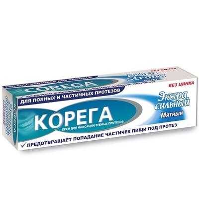 Фиксирующий крем для зубных протезов КОРЕГА Экстра сильный Мятный, 40 г
