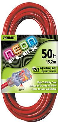 Prime Neon Flex Cord - 50ft 12/3 SJTW Neon Red