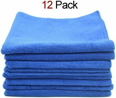 A&B Microfiber 16x16 Cloth, Blue (12 pack)
