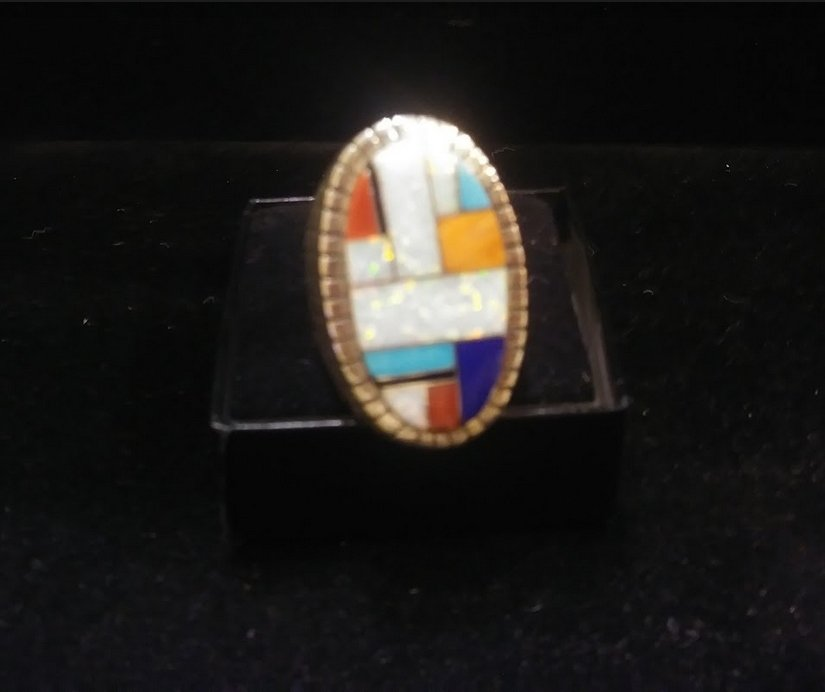 Men's Ring - Size 11 - Zuni inlay w/ Opal, Coral, Turquoise, Lapis Lazuli & Spiny Oyster shell