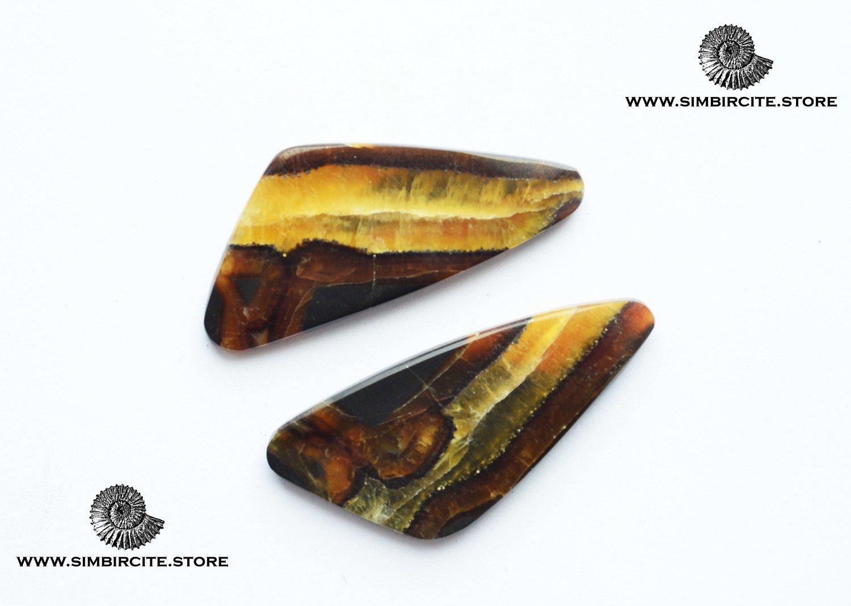 Парные кабошоны Симбирцит 41*18*3 мм