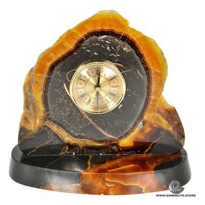Часы срез симбирцита 23*26.5 см