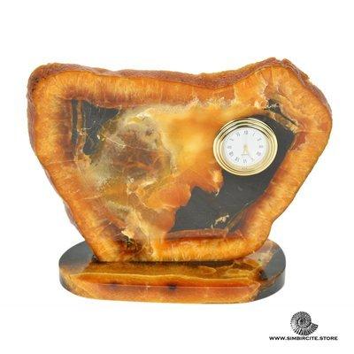 Часы срез симбирцита 19*15 см