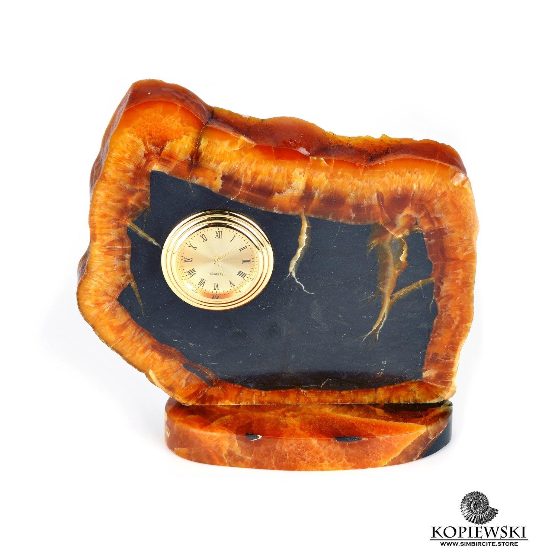 Часы срез симбирцита 14 x 13 cm
