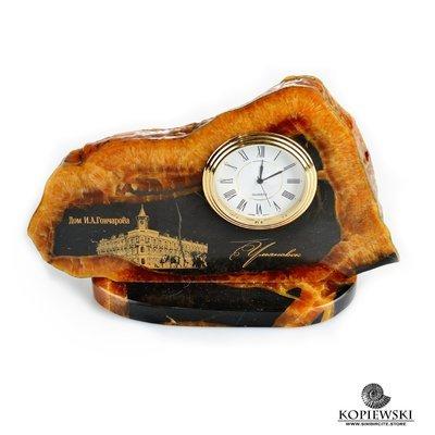 Часы срез симбирцита с гравировкой 18*12 см