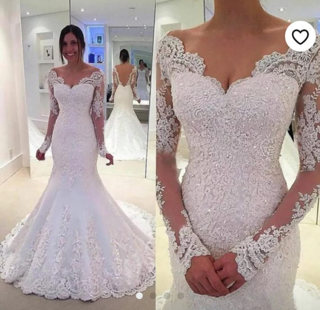 Lace Crystal Mermaid wedding dress Sizes 2-plus size