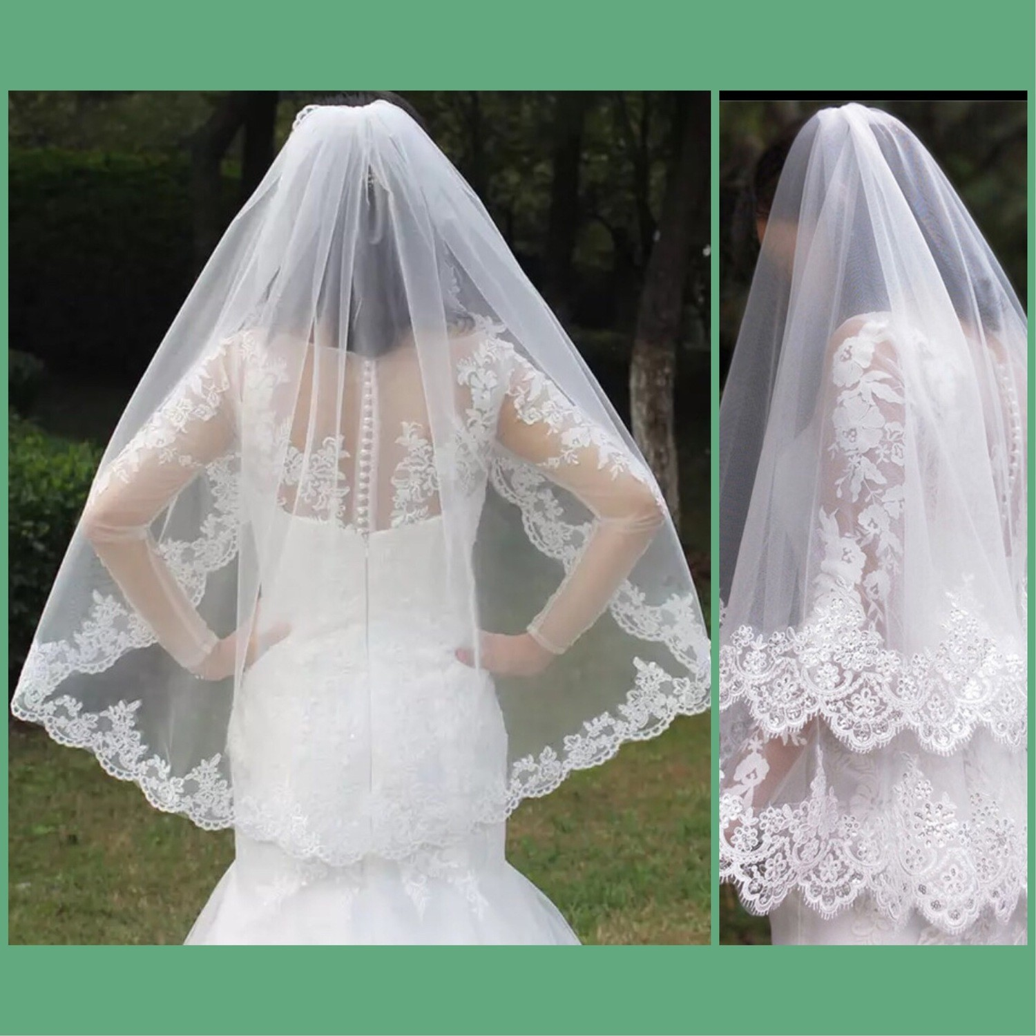 One 1T two Layer 2T Lace Appliques Edge Short Woodland Wedding Veils with Comb New White Ivory Bridal Veils​