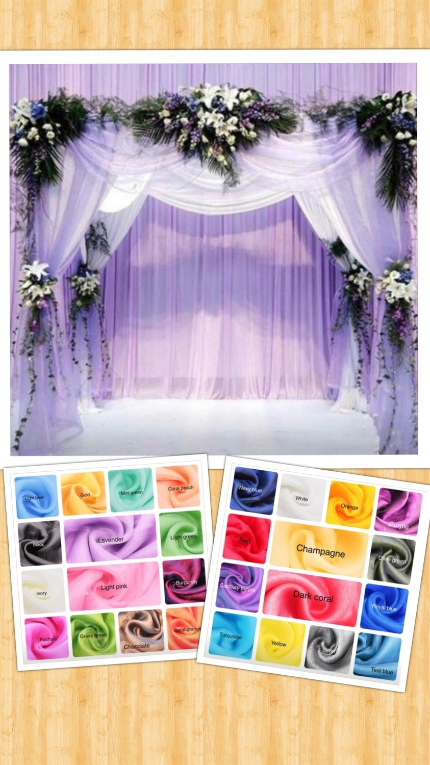 28 COLORS 16 ft/32 ft sheer organza swag $20/$25