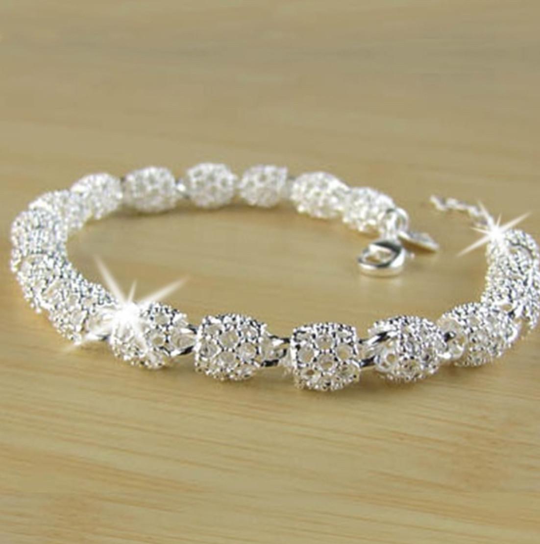 Silver fashion hollow bead chain bracelet