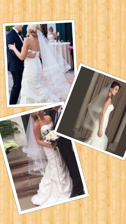 White or ivory fingertip 3 ft ribbon Edge wedding veil