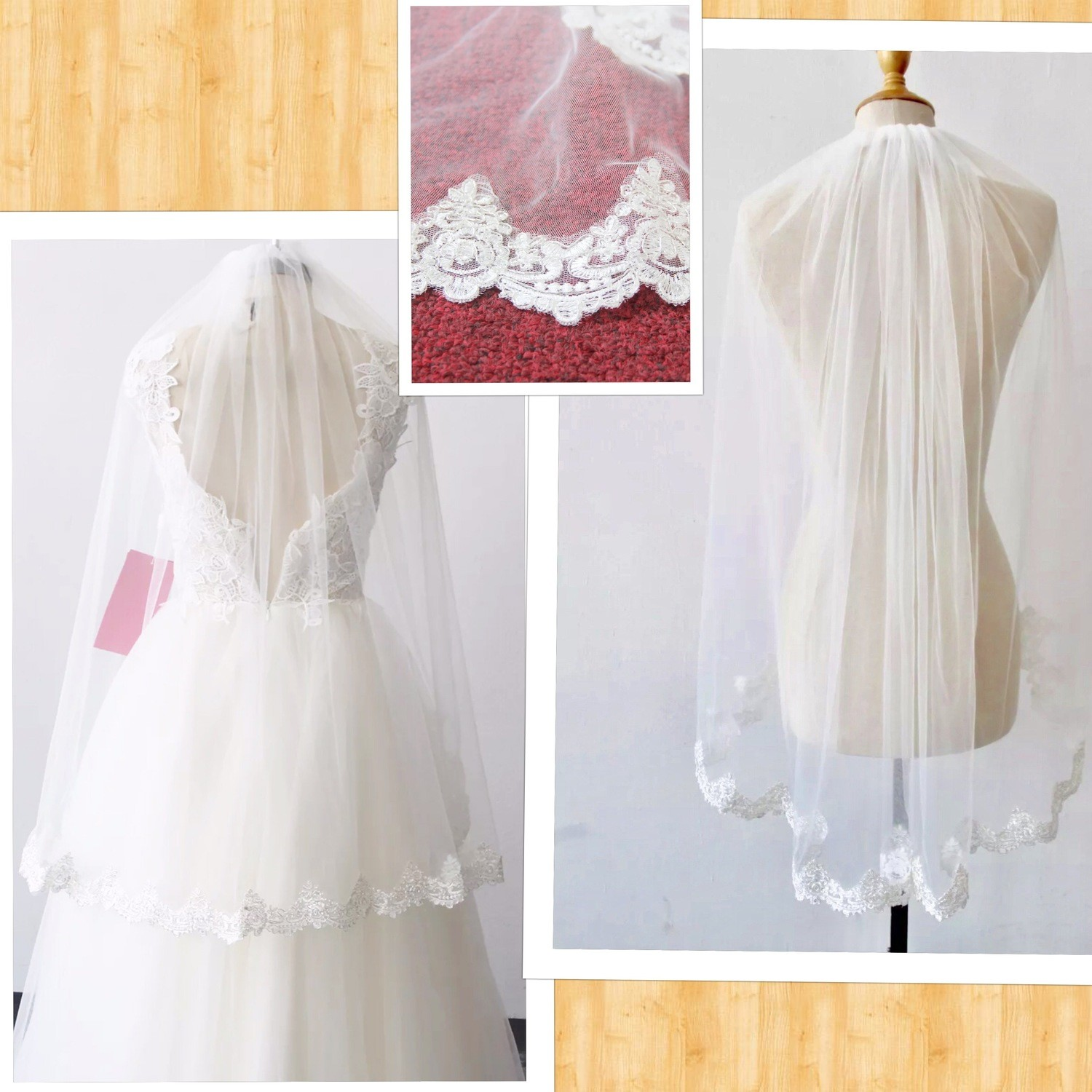 1T White/Ivory lace edge wedding veil  with comb