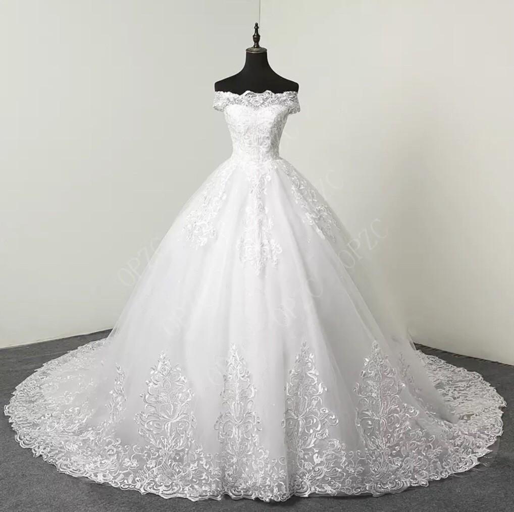 White/Ivory 100cm Long Train Sweetheart Sz 2-28W Plus size Wedding gown