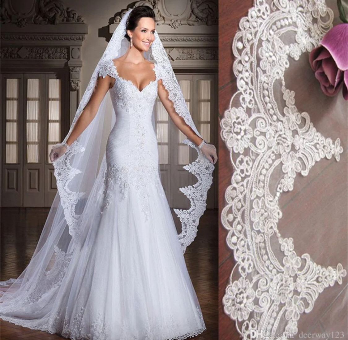 3m/10 ft White or Ivory Lace Appliqué edge Cathedral Veil With Comb