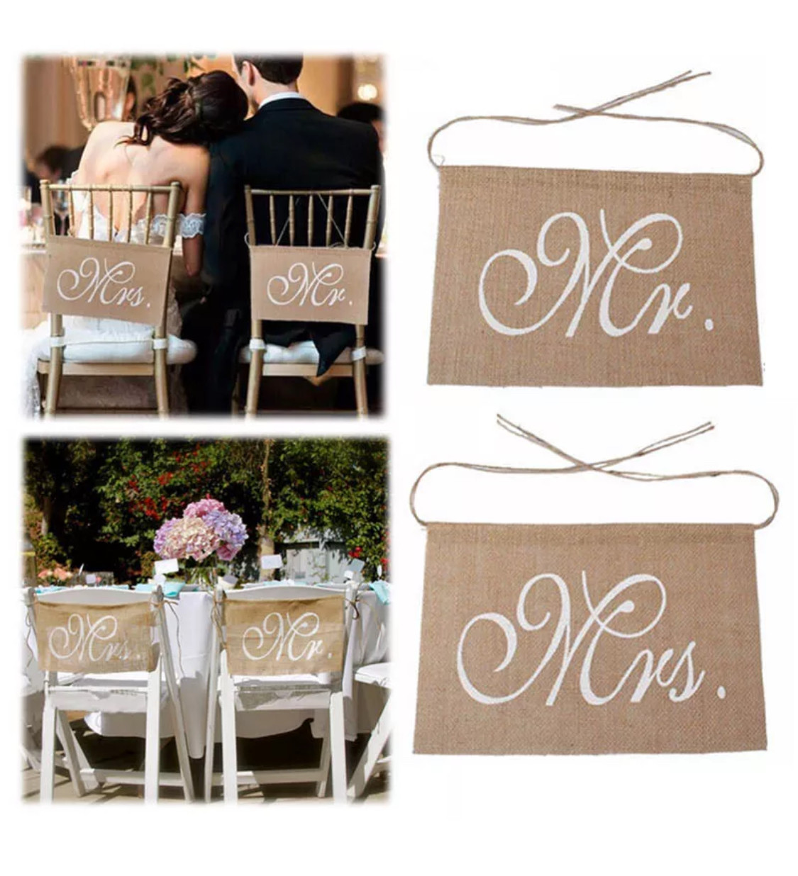 2 X Wedding Banners Mr And Mrs rectangular Banner Wedding Chair Signs