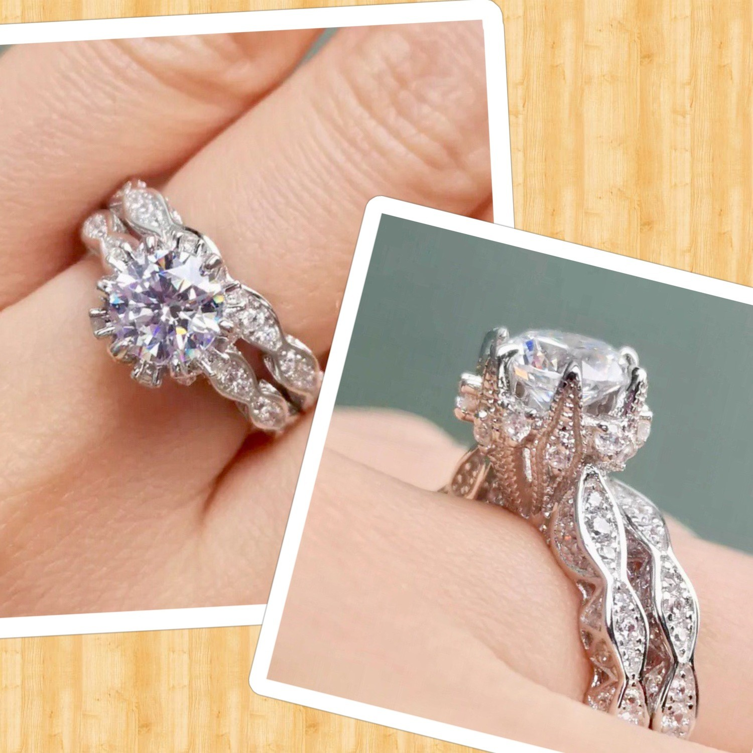 2.5Ct Round Cz Wedding Engagement Ring Set Stamped 925 Sterling silver NON-TARNISHING