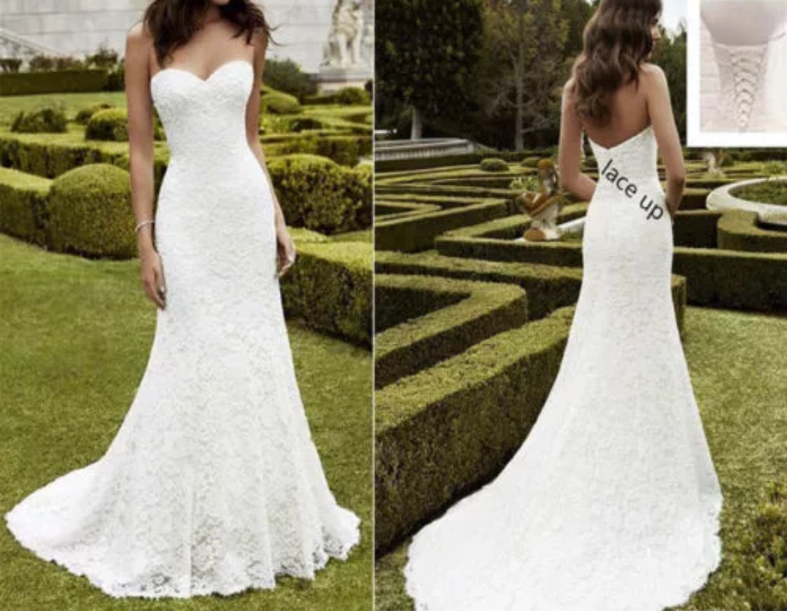 White or ivory lace mermaid wedding dress size 4-16