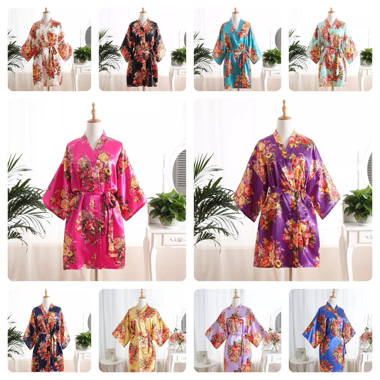 Bride wedding party silk satin floral robes