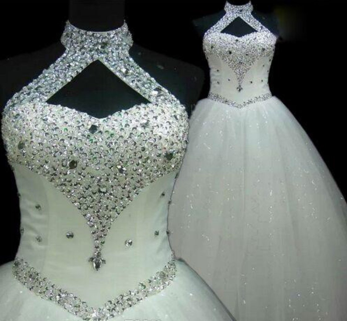 Halter style rhinestone beaded tulle wedding gown