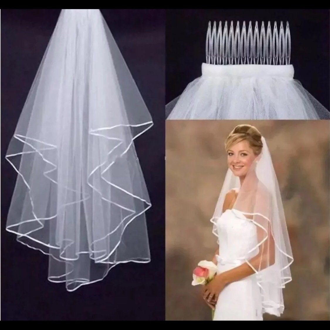 NEW white/ivory Wedding Veil Two Layer W/ Comb