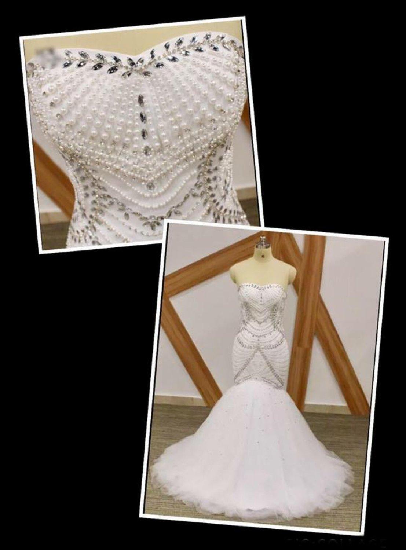 White/Ivory luxury beaded crystal mermaid wedding dress sizes 2-26W