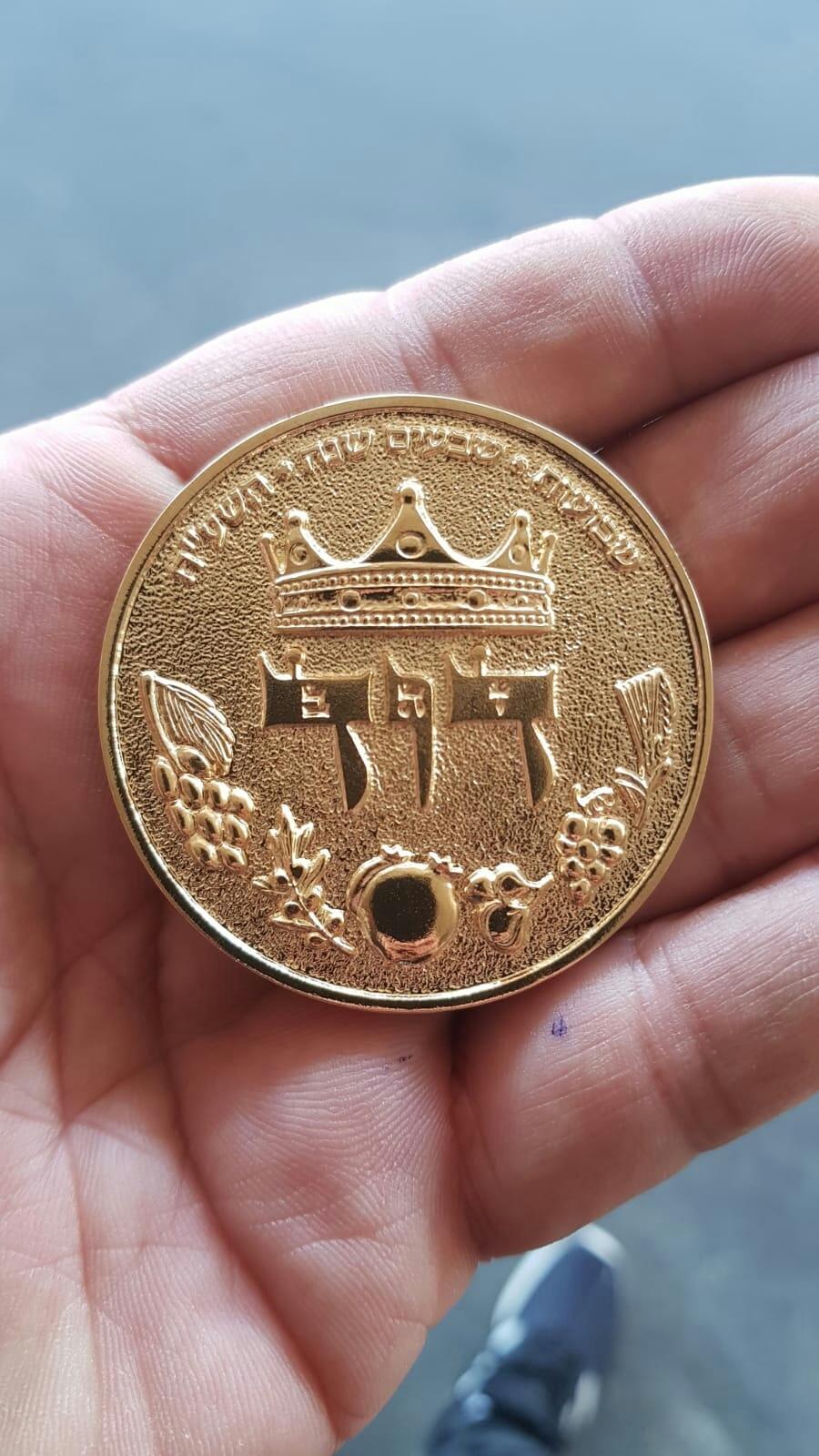 HALF SHEKEL KING DAVID COIN - gold plated 00009