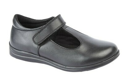 Girls T-Bar in Black Leather (Size 8 to 2) (RCSG858A)