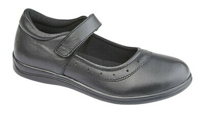 Girls T-Bar in Black Leather (Size 10 to 5) (RCSG859A)