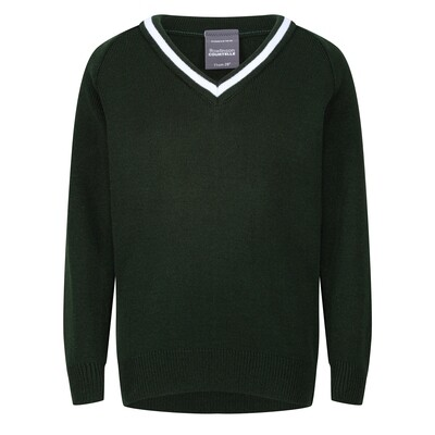 Cedars School Knitted V-neck with stripe