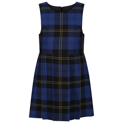 Tartan Pinafore (In Navy & Gold)
