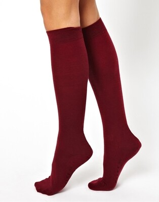 Girls Knee High Socks by Pex in Maroon (2 Pair Packs) (From Age 4) 'Best Seller'