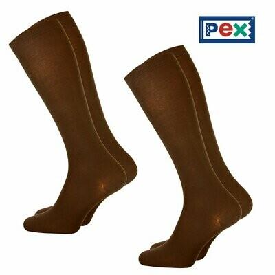 Girls Knee High Socks by Pex in Brown (2 Pair Packs) (From Age 4) 'Best Seller'