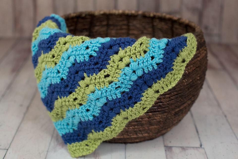 Bobbles and Ripples Chevron Blanket Crochet Pattern