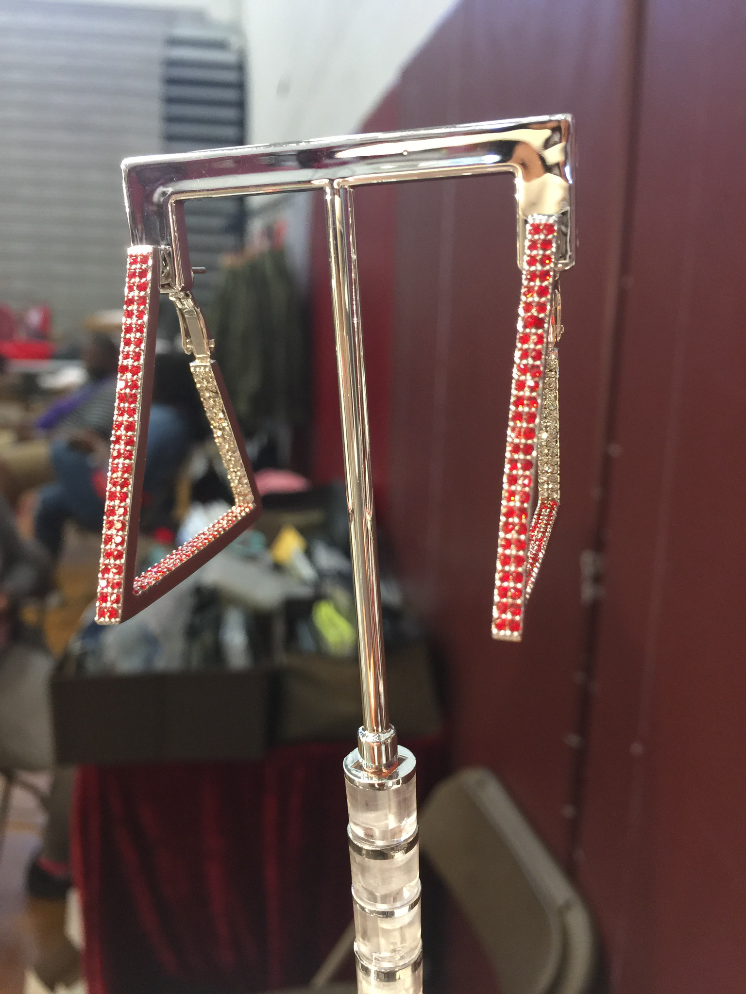 The Bling Red & Clear pyramid Hoops 00108