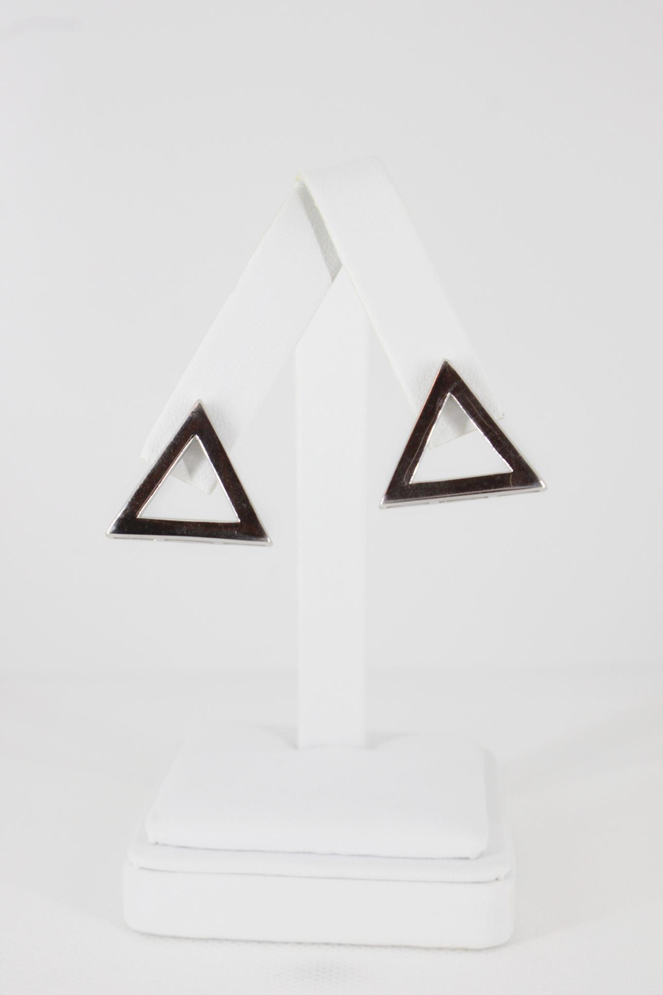 Sterling Plain 925 Pyramid Earrings
