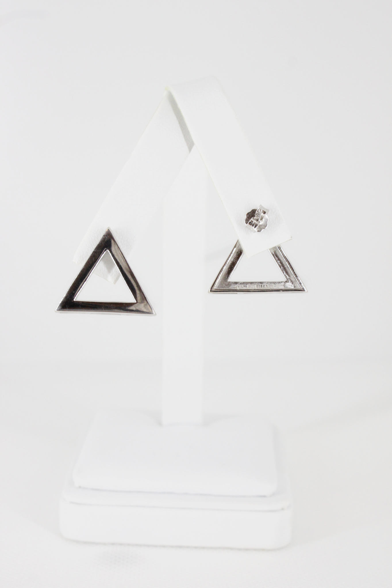 Sterling Plain 925 Pyramid Earrings 00144