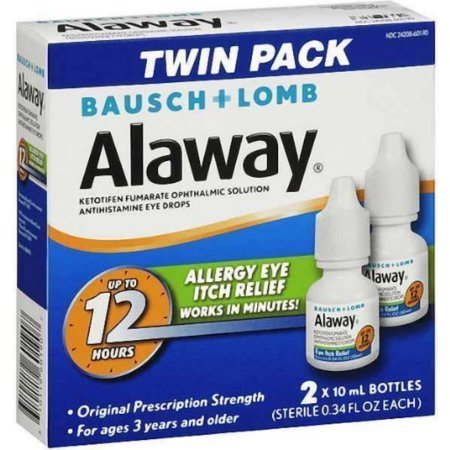 Bausch + Lomb Alaway Antihistamine Eye Drops [Twin Pack] 0.68 oz