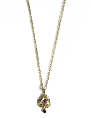 Circa 1905 9ct Amethyst Pearl Pendant Chain