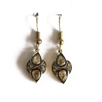 Circa 1910 Gold Enamel Diamond Earrings