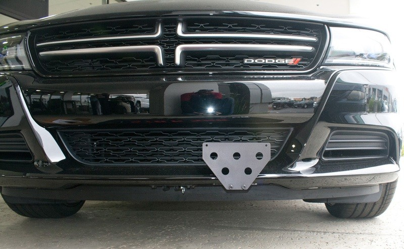 Quick-Release Front License Plate Bracket For 2015-2020 Dodge Charger SXT, R/T, GT with adaptive cruise control (SNS66b)
