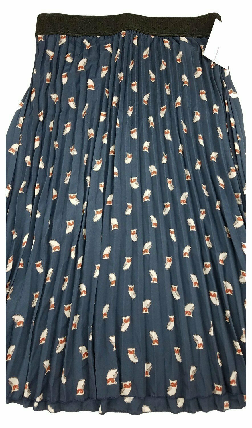 LuLaRoe Jill Navy with Grey Owls Large (L) Accordion Women's Skirt fits Sizes 14-15
