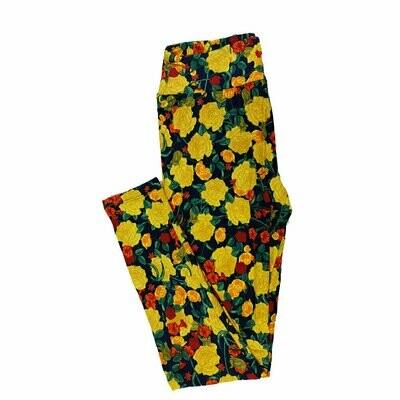 One Size (OS) Roses Floral LuLaRoe Leggings fits 2-10