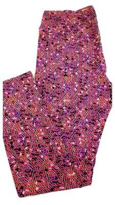 LuLaRoe Tall Curvy TC Dark Pink Blue Yellow Black Geometric Zig Zag Floral Leggings fits 12-18
