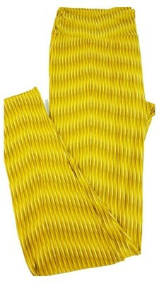 LuLaRoe Tall Curvy TC Mustard and Light Yellow Geometric Zig Zag Stripe Leggings fits 12-18