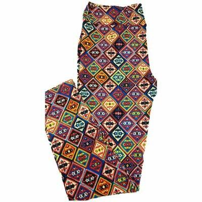 LuLaRoe Tall Curvy TC Multicolor Patchwork Quilt Geometric Leggings fits 12-18
