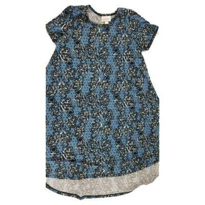 Kids Scarlett LuLaRoe Floral Blue Black White Geometric Swing Dress Size 10 fits kids 8-10