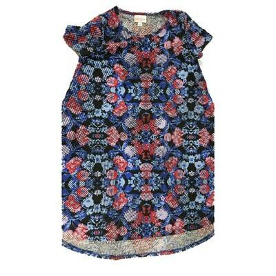 Kids Scarlett LuLaRoe Geometric Black Blue Red Swing Dress Size 10 fits kids 8-10